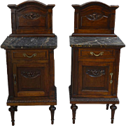 Pair of French Walnut Marble Top Bedside Stands- High Quality