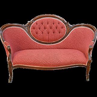 Antique Victorian Cameo Back Carved Civil War Era Sofa