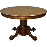 Antique Round Oak Claw Foot Dining Table -4 Feet – 2 leaves