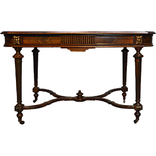 Antique French Victorian Rosewood Satinwood Writing Desk