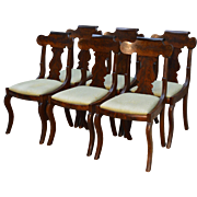 Antique Set of 6 Flame Mahogany Empire Dining Chairs