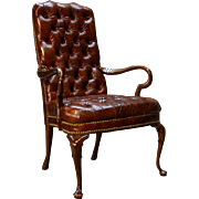 100% Genuine Leather Chippendale Tufted Arm Chair by Schafer Brothers