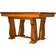 Oak Carved Drawer Leaf Dining Table