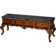 Burl Walnut Glass Top Wide Screen TV Stand