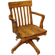 Oak Lawyers / Banker Refinished Swivel Tilt Office Chair