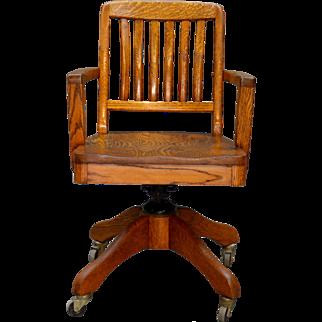 Oak Lawyers Doctors Swivel Office Chair