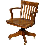 Antique Oak Turn of the Century Swivel Office Chair
