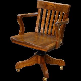 Antique Oak Turn of the Century Swivel Office Chair