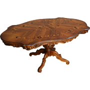 Carved Inlaid Oversize Grand Entrance Parlor Table