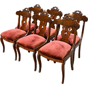 Antique Set of 6 Period Empire Civil War Era Dining Chairs