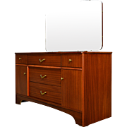 Teak Vanity with Beveled Mirror