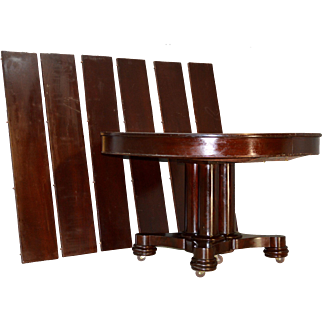 Round Mahogany Split Pedestal Empire Dining Banquet Table - 6 Leaves