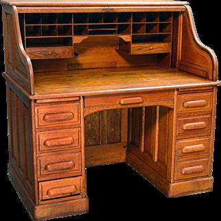 Antique Victorian Oak Raised Panel Lawyers Bankers Roll Top Desk