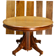 "Round Victorian Burl Walnut 45"" Dining Table"