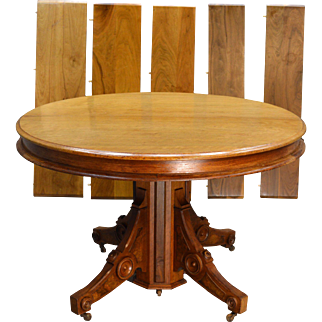 "Round Victorian Burl Walnut 45"" Dining Table"