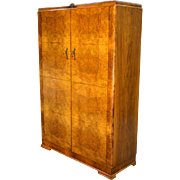 Antique Deco Burl Walnut Wardrobe