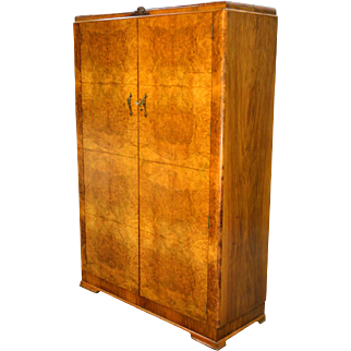 Antique Deco Burl Walnut Wardrobe