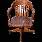 Oak Barrel Back Lawyers Office Swivel Chair
