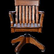 Oak Lawyers Bankers Swivel Office Chair