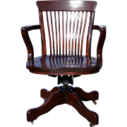 Antique Mahogany Victorian Swivel Office Chair