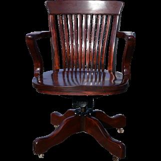 Antique Mahogany Victorian Swivel Office Chair