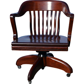 Barrel Back Mahogany Swivel Office Chair