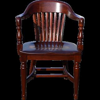 Mahogany Lawyers Barrel Arm Chair