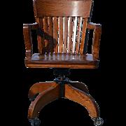 Oak Lawyers Swivel Tilting Bankers Chair