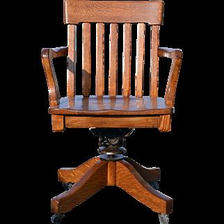 Oak Lawyers Swivel Tilting Office Chair