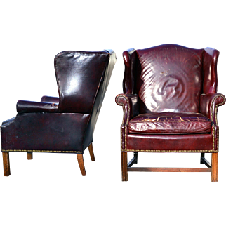 Two Leather Wingback Chippendale Chairs - Shabby Chic