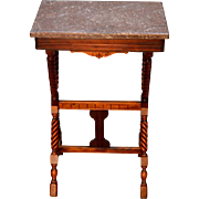 Antique Victorian Marble Top End Table