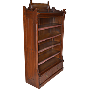 Eastlake Walnut Bookcase with Drawers