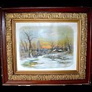 Victorian Oak Carved Frame with Cabin Scene