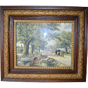 Victorian Oak Picture Frame with Horse and Buggy Print