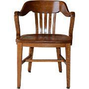 Oak Barrel Back Lawyers Bankers Office Chair
