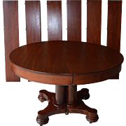 Round Mahogany Empire Dining Banquet Table w/6 Leaves