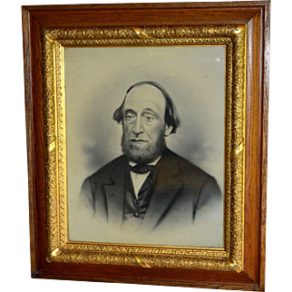 Oak Carved Picture Frame with Man