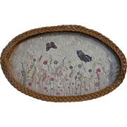 Antique Oval Wicker Serving Tray with Butterflies