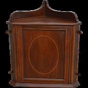 Mahogany Inlaid Corner Medicine Cabinet