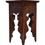 Heavily Carved Six Sided Mahogany Plant Stand