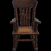 Oak Carved Original Finish Children's Rocking Chair