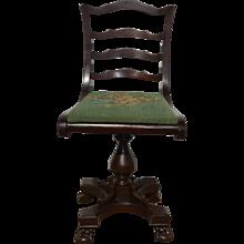 Mahogany Ball and Claw Organ Piano Chair