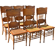 Set of 6 Fancy Oak Dining Chairs