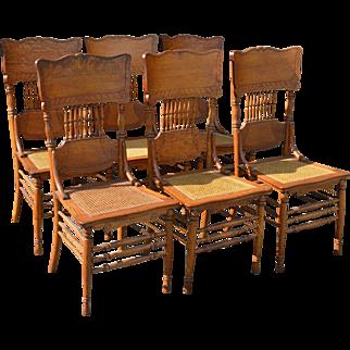 Set of 6 Fancy Oak Dining Chairs