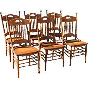 Set of Six Press Back Dining Chairs