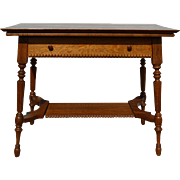 Oak Fluted Leg Library Table with Drawer