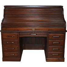 """Antique Victorian Raised Panel 60"""" Roll Top Desk / Lawyers / Bankers"""