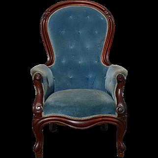 Victorian Blue Gentleman's Arm Chair