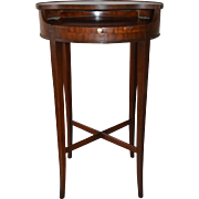 Unusual Mahogany Leather Top Telephone Stand