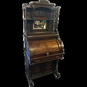 Rare Victorian Cylinder Davenport Gallery Top Desk